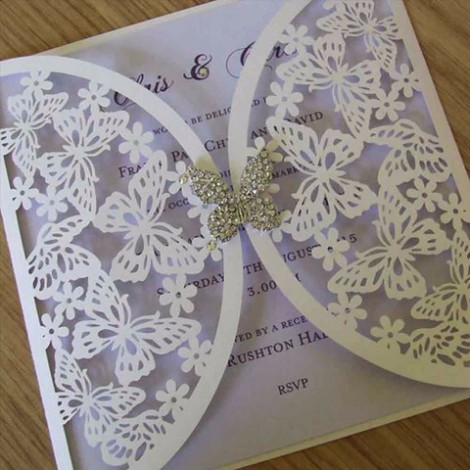 Butterfly Laser Cut Wedding Invitation
