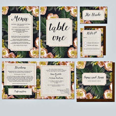 Citrus Palm Wedding Invitation
