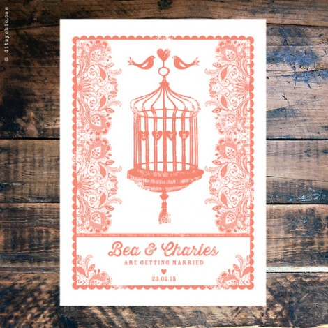 Decorative Birdcage Wedding Invite