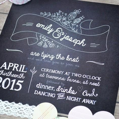 Village Chalkboard Wedding Invitation