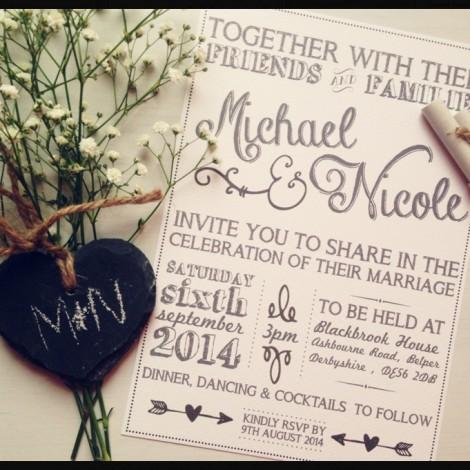 Vintage Chalk Wedding Invitation