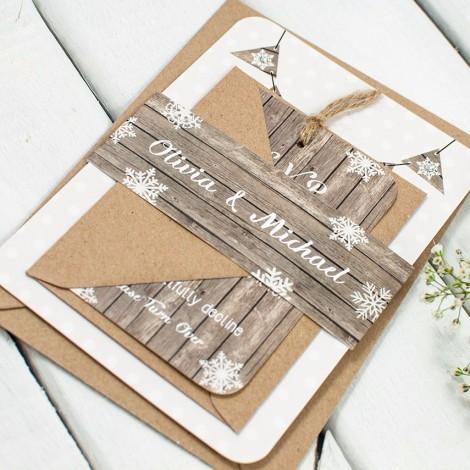 Winter Wooden Snowflake Wedding Invite
