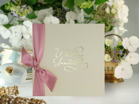 Gold Script Wedding Invite